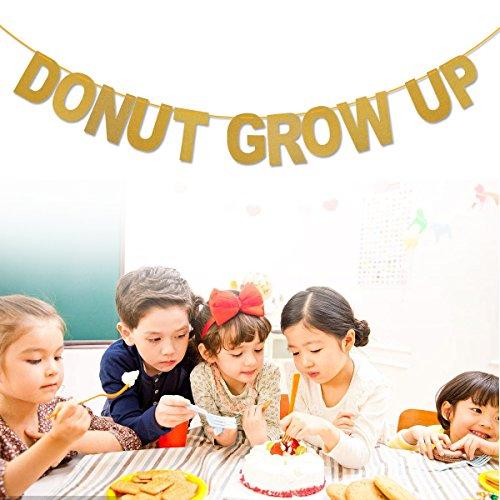 LUOEM DONUT GROW UP BANNER - Gold Glitter alles Gute zum Geburtstag Party Banner Donut Thema Party Dekorationen für Baby-Geburtstags-Party-Zeichen