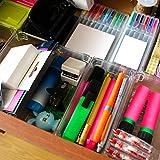 Organizador de cajones (6 piezas) - Tamaño 8 cm Ancho, 16.5 cm Profundidad y 5 cm Altura - Organizador de plástico acrílico transparente para cocina, lavabo, papelería, escuela, armario y accesorios