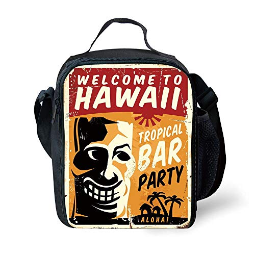 MLNHY School Supplies Tiki Bar Decor,Welcome to Hawaii Tropical Bar Party Retro Style Grunge Signboard Picture,Multicolor for Girls or Boys Washable