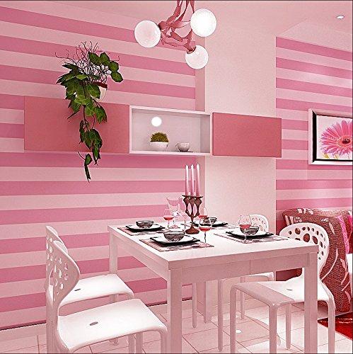 LXPAGTZ Moderne e semplici strisce verticali sfondi principessa rosa sfondi camera calda ragazza lungo 9.5 m * largo 0,53 m tessuto non tessuto bambini camera da letto (5 m ²) , pure wallpaper