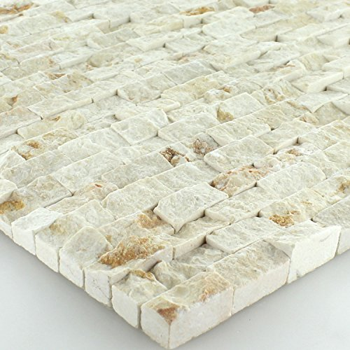 Quarzit Wand Mosaik 3D Brickstones Verblender Anthrazit - Getrommelt Travertin Fliese