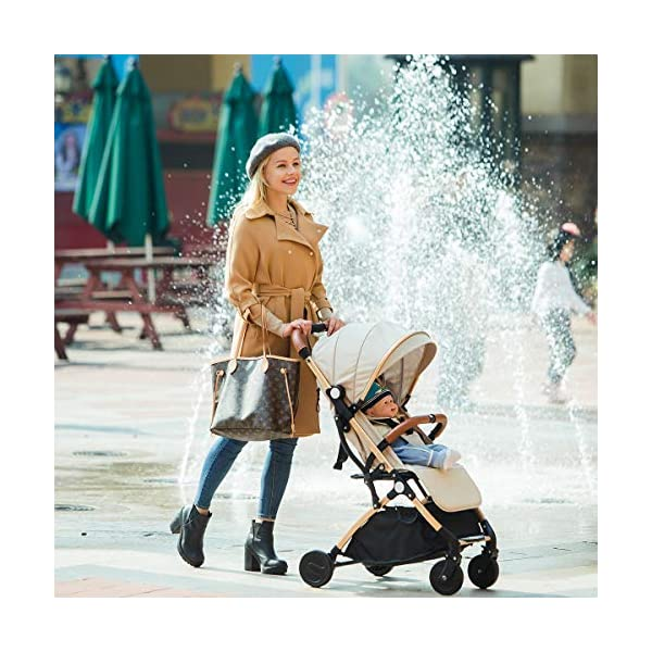 SONARIN Lightweight Stroller,Compact Travel Buggy,One Hand Foldable,Five-Point Harness,Great for Airplane(Khaki) SONARIN Size:Suitable from birth up to 15kg, length:66CM, width:48cm, height:98cm.Folding up:60CM*48CM*26CM. Great for Airplane,can be placed in any car boot. Safe:With sturdy aluminum alloy, compact body and five-point seat harness,each stroller has been pressure tested to provide security for each baby. Quality and Design:The backrest of the stroller supports sitting, half lying, lying,all three angles,lengthened and widened sleeping basket. Four wheel independent shock absorbing and built-in bearings make it smoother and quieter. 2