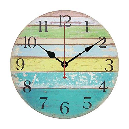 Orologio da parete, iTECHOR14 pollici Orologio di parete della casa di numeri arabi design silenzioso Orologio da parete in legno - Stile 2