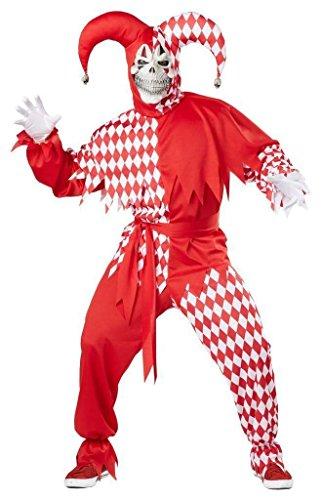 Hofnarr Kostüm Rot und Weiss Übergröße Fasching Karneval Verkleidung Herren