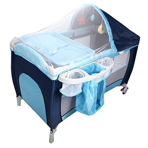 COSTWAY Babybett Reisebett Klappbett Babyreisebett Kinderbett Kinderreisebett Laufstall + Wickelauflage mit Schaukelfunktion (blau)