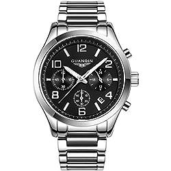 GUANQIN Popular Brand Men Fashion Analogue Sport Quartz Wrist Watch Stainless Steel Luxury Design Luminous Calendar Chronograph Waterproof Silver Black