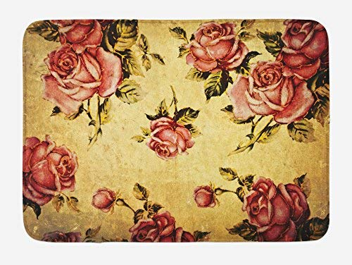 UKSILYHEART Bath Rug Rose Bath Mat, Old Fashioned Victorian Style Rose Pattern with Dramatic Color Boho Art Design, Plush Bathroom Decor Mat, 16x 24 Inches, Cream Pink Green - Victorian Rose Bath