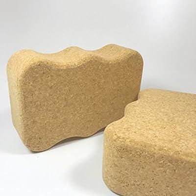 Set aus 2 Kork Yoga Blöcken Wave 227 x 150 x 75mm - natürlicher Yoga Block aus Kork - rutschsicher und natürlich