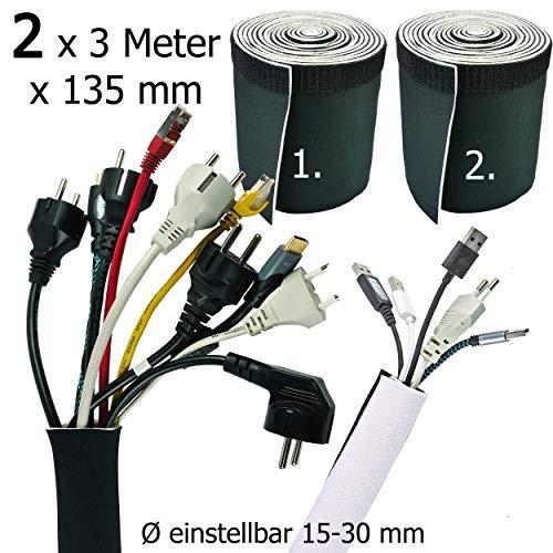 Doppelpack 2 x 3 Meter x 135 mm Kabelschlauch Weiß - Schwarz, Kabelkanal Flexibel, Neopren mit innovativem Klettverschluss und einstellbarem Durchmesser   Kabel verstecken