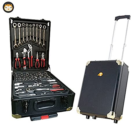 286 Pcs Tool Chest Trolley with Luggage Case on Wheels,