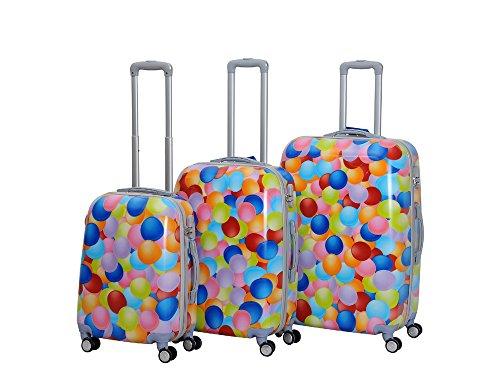 HOT CASE Reisekoffer Trolley Hartschalen Polycarbonat mit Zahlenschloss und 4-Zwillingsrollen 20' 24' 28' 3er Set (Luftballon, 3er Set)