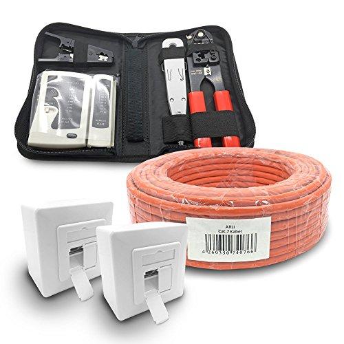 4 Werkzeug-set (ARLI CAT 7 25m Verlegekabel Netzwerkkabel CAT.7 + 2X Netzwerkdose Cat6a + 1x Werkzeugset Crimpzange Abisoliermesser Tester Netzwerk Werkzeug Set 4 in 1 S/FTP CAT7 PIMF Kabel AWG23/1 Ethernet 25 m)
