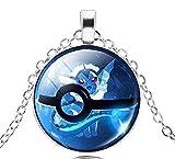 EVRYLON - Collar Pokémon para Mujer y Hombre, diseño de Bola de Pokeball y Trampa, Color Azul