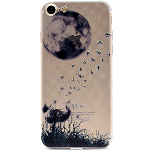 "iPhone 8 Schutzhülle, ultra dünn TPU weich flexibel Colorful Vinylfolie Muster Design Jelly Schutz Gel Case Cover Skin für Apple iPhone 8 (11,9 cm), Black Frowny Face, Apple iPhone 8 (4.7"") Black Moon & Birds"