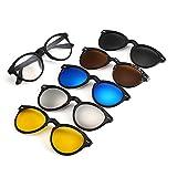 Memoryee Unisex Retro 5Pcs Occhiali da sole polarizzati removibili magnetici Clip-on TR Frames Ultra Light Set 2205