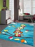 Kinderteppich Spielteppich Kinderzimmer Mädchen und Jungen Teppich Papagei Pirat türkis Größe 120x170 cm