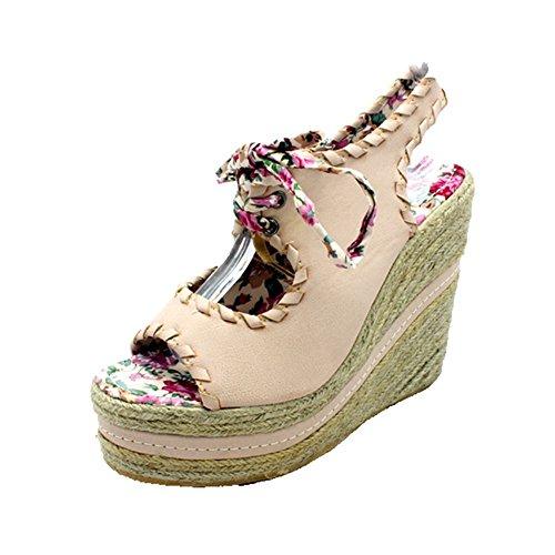 Ladies peep toe en osier coin chaussures / sandales Beige