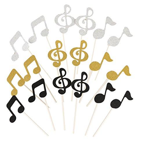 Supvox Geburtstagstorte Topper Set Glittery Musik Notation Party Dekoration 18st