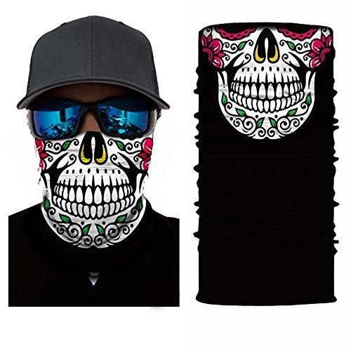3D mit Kopfbedeckungen, Totenkopf-Maske, Magic Schal, Halstuch, Bandana, Sturmhaube, Kopftuch für Radfahren, Motorradfahren, Laufen, Skaten, Feuchtigkeitstransport UV-Schutz, ideal für Damen & Herren, - Durch Gesichts-maske Die Zu Sehen