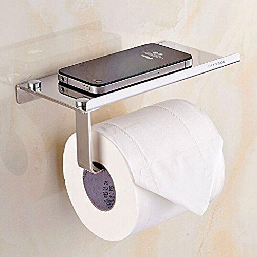 Stilvoller Toilettenpapierhalter aus rostfreiem Edelstahl, mit Ständer für Mobiltelefon, Wandmontage, Badezimmerzubehör von BTSKY, Thin (Tragen Wc-papierhalter)