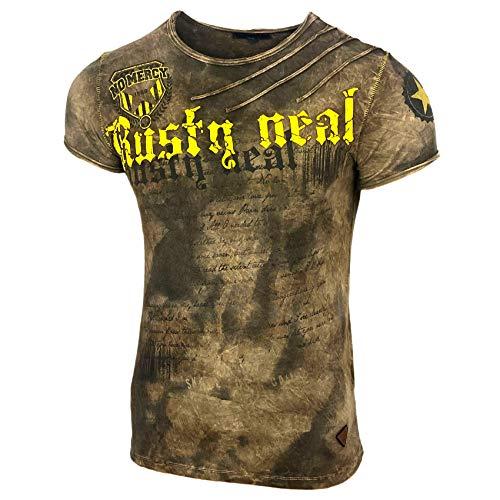 Herren Rundhals Vintage T-Shirt Kurzarm Slim Fit Design Fashion Top Print Shirt 15156-1, Größe:3XL, Farbe:Hellbraun
