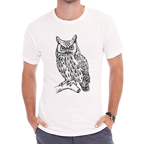 Owl Bird Night Midnighter Black White Real Painting Herren T-Shirt Weiß