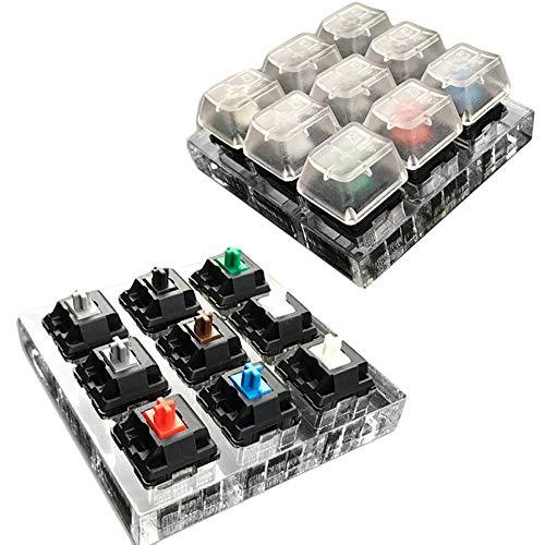 9 Cherry MX Switch-Tastatur-Tester, transparent, Tastenkappen, Sampler, PCB, mechanische Tastatur, durchscheinend