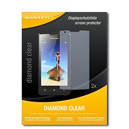 SWIDO 2 x Bildschirmschutzfolie Lenovo A1000 Schutzfolie Folie DiamondClear unsichtbar