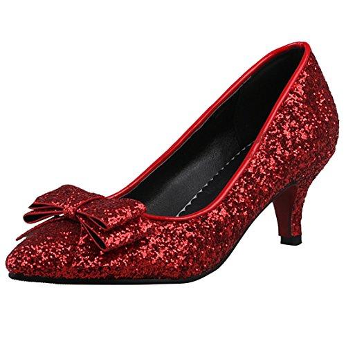 AIYOUMEI Damen Spitz Glitzer Kitten Heel Pumps mit 6cm Absatz Kleinem Absatz Modern Schuhe