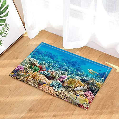 gohebe nautischen Ocean Scenery Dusche Decor Marine Animals Fishes in Coral für Kinder Bad Teppiche rutschhemmend Boden Innen vorne Kinder Badematte 39,9x59,9cm Badezimmer Zubehr - Ocean Fleece-stoff