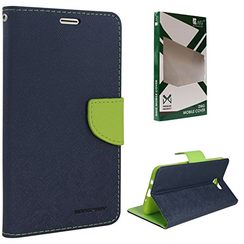 DMG Sturdy PU Leather Wallet Flip Book Cover Case for Samsung Galaxy On7 Prime (Pebble Blue)