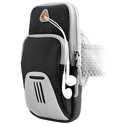 DONWELL Laufarmband Handyhalter Tasche Universal Sport Fitness Armband mit Reflektorband für iPhone XS XR 8 7 6 6s Plus, Samsung S10 S9 S8 Plus A9 A8 A7 A6 A5 - Laufen Gym Radfahren (schwarz) (Iphone Armband, Tasche Mit 6)