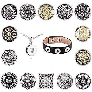 Morella Damen SMALL Click-Button Glücks Set Halskette 3er Armband 14 Stück Druckknöpfe