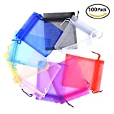 Vicloon Borse da Regalo di Organza multicolore 100 pezzi da Regalo per Carnevale 9 x 12 cm