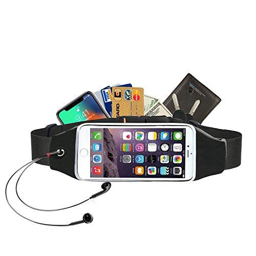 Alfort marsupio sportivo, cintura corsa con elastico, cintura riflettente e foro per auricolari per run/escursionismo/bicicletta per samsung a5 / a3 / s7 edge, iphone 8/7, huawei, sony (5,7'')