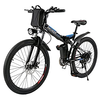 ANCHEER Electric Mountain Bike, 26 Inch Folding E-bike, 36V 250W Large Capacity Lithium-Ion Battery and Battery Charger, Premium Full Suspension and Shimano Gear (Schwarz-1)