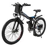 Ancheer Elektrofahrrad 26 Zoll Faltbares Mountainbike E-Bike 36V 250W Große Kapazität Lithium-Akku und Ladegerät, Premium Volle Suspension und Shimano Zahnrad (Schwarz & Blau)