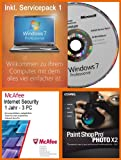 Windows 7 Professional 32 Bit Deutsch Service Pack 1 (SP1) MAR Refurbished + McAfee Internet Security 3 User - 1 Jahr + Corel Paintshop Pro Photo X2