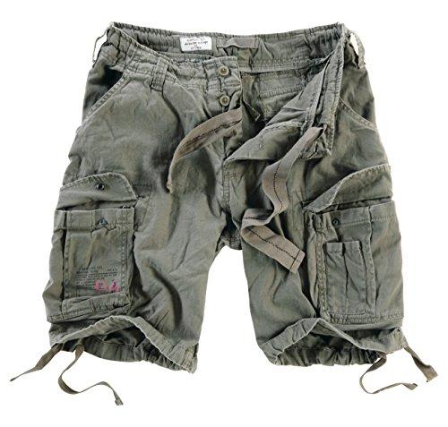 Surplus Herren Airborne Vintage Cargo Shorts, Oliv, Gr. S