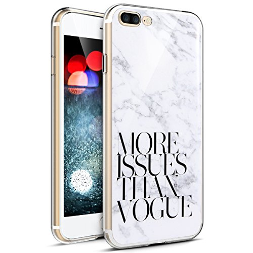 PHEZEN iPhone 8 Plus Fall, iPhone 7 Plus Schutzhülle, Marmor Design Transparent Bumper Weich Gel Gummi TPU Silikon Cover Slim Fit Ultra Dünn Schutzhülle für iPhone 7 Plus/8 Plus Marble Series #9 Ultra Gummi