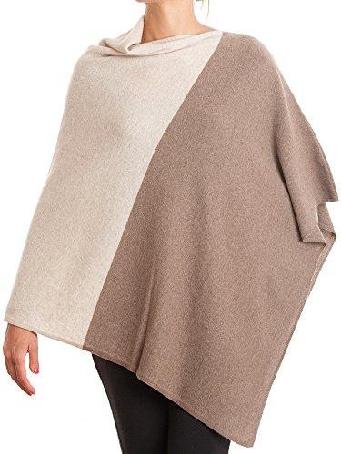 DALLE PIANE CASHMERE - Poncho zweifarbig zu 100% aus Kaschmir - für Damen, Farbe: Beige, Einheitsgröße