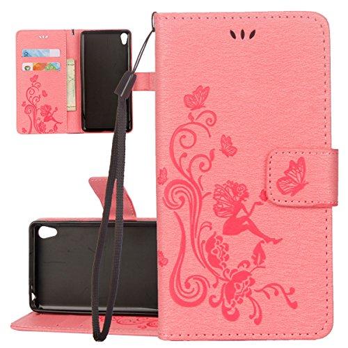 Hülle für Sony Xperia XA1, Tasche für Sony Xperia XA1, Case Cover für Sony Xperia XA1, ISAKEN Blume Schmetterling Muster Folio PU Leder Flip Cover Brieftasche Geldbörse Wallet Case Ledertasche Handyhü Schmetterlinge Mädchen Pink