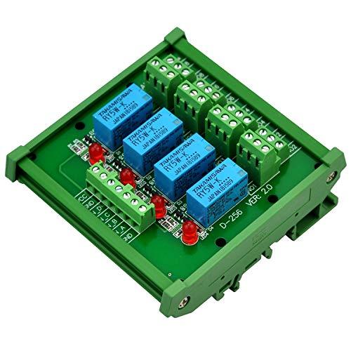Electronics-Salon Montage sur rail DIN 4 Module d'interface de relais de signaux DPDT, version DC5V.
