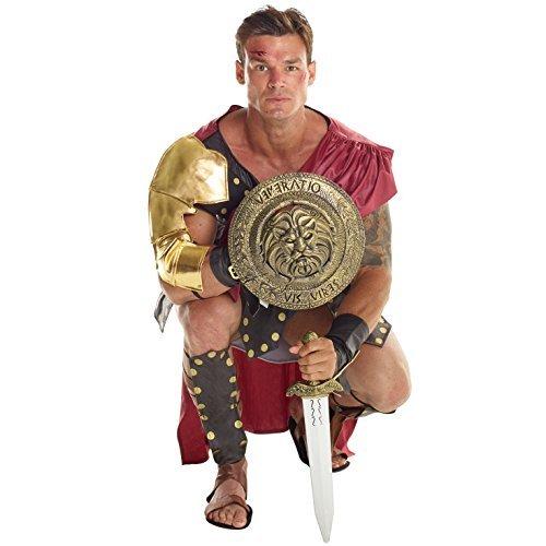 Morph Herren Braun Römisch Gladiator Soldat Kostüm Kämpfer Kleidung Karneval - Groß (42-44 Zoll / 107-112 cm Brust)