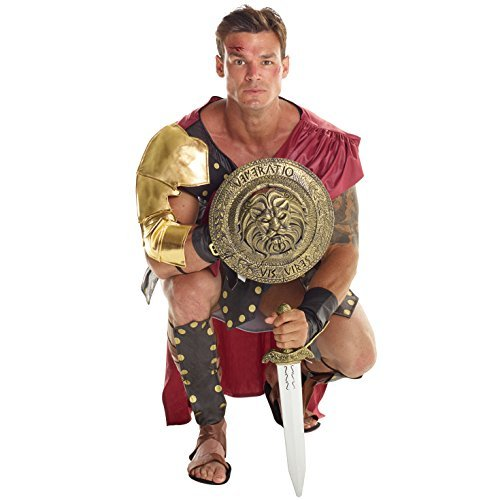 ömisch Gladiator Soldat Kostüm Kämpfer Kleidung Karneval - Groß (42-44 Zoll / 107-112 cm Brust) ()