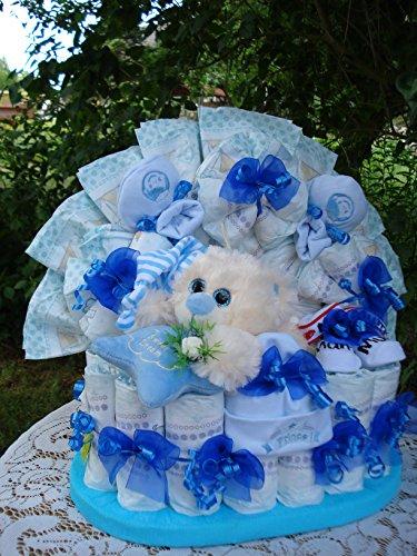 Windeltorte Schlafbär und Babyset,blau,Geburt,Taufe,Geburtstag