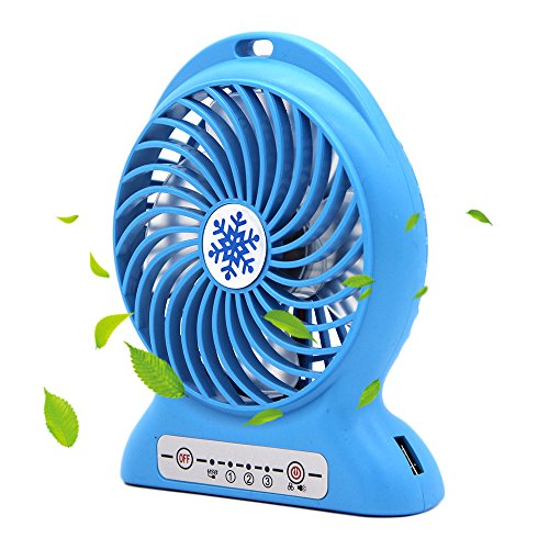 CoolFoxx Einstellbare Mini USB Fan, wiederaufladbare tragbare Tisch Outdoor Kühler Lüfter -