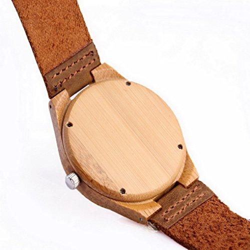 Acmede Damen Holzuhr Holz Armbanduhr Bambus Uhr Lederarmband Braun