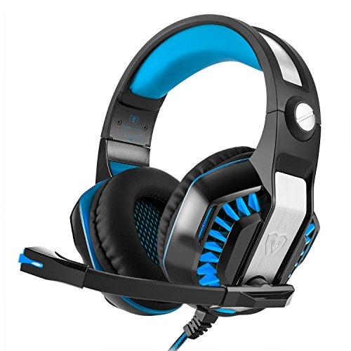 Auriculares Gaming iBeek Sonido Envolvente Estéreo Cascos Juegos con Micrófono Gaming Headset Cancelación de Ruido Profesional 3.5 mm Sobre-Oído Luz LED para PC PS4 Ordenador Portátiles (Azul)