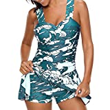 Damen Bunt/Rainbow Tankini Swim Kleid Badeanzug Beachwear Gepolsterte Bikini Set den Bauch gut Kaschieren